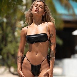 Leather Bikini Swimsuit.
